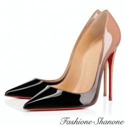 Degraded with red sole shoes