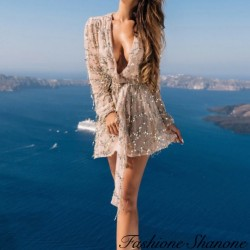 Sequin dress with deep V-neck