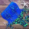 Leopard brazilian bikini with fringes