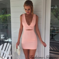 Coral dress with plunging neckline