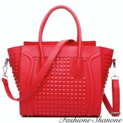 Red studded handbag