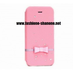 Coque IPHONE 5/5S rose refermable avec noeud et strass