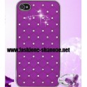 Coque IPHONE 5/5S violet avec strass