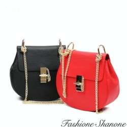 Small leather bag with shoulder chain