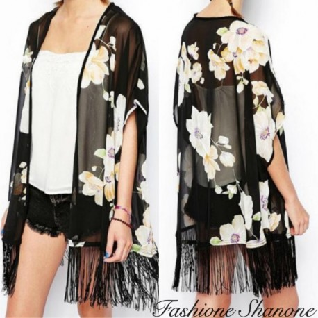 Floral black kimono with fringes