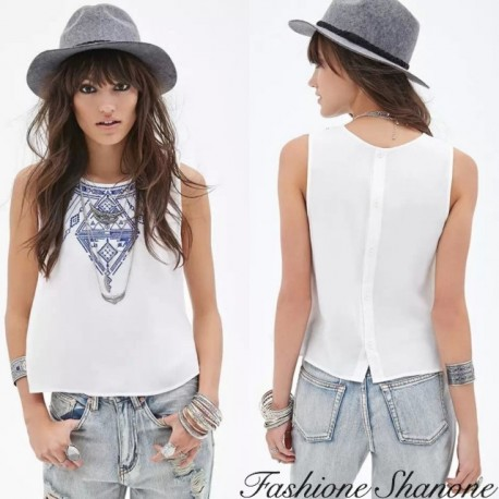 White crop top with blue pattern