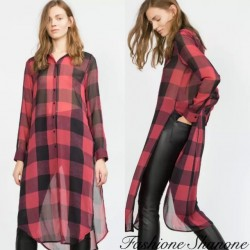 Plaid long shirt