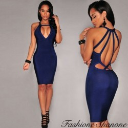 Bodycon navy blue dress with plunging neckline