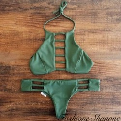 High neck khaki bikini