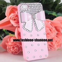 Coque IPHONE 5/5S rose avec noeud et strass