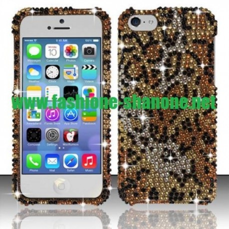Coque IPHONE 5C léopard en strass