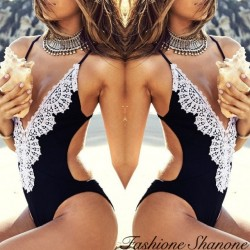 Plunging neckline one-piece swimsuit with lace