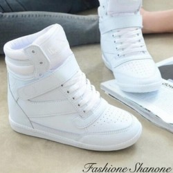 Lace up white wedge sneakers
