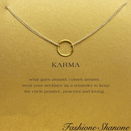 Double chain karma ring necklace