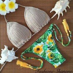 Fashione Shanone - Sunflower printed crochet brazilian bikini