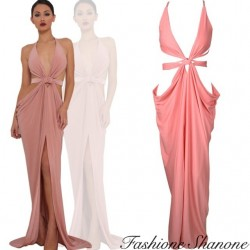 Fashione Shanone - Robe longue rose coupé