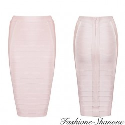 Fashione Shanone - Pink high waist bandage skirt