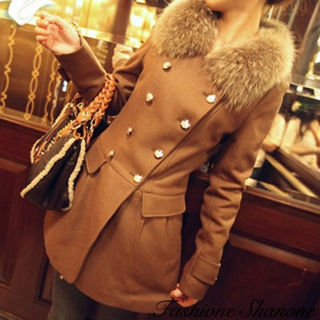 Officer coat with fur collar