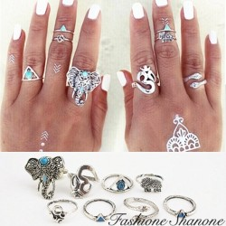 Fashione Shanone - Set of 8 vintage boho rings