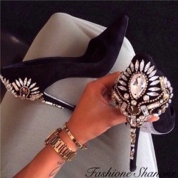 Fashione Shanone - Black pumps with diamond