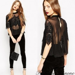 Fashione Shanone - Transparent fluid blouse with lace