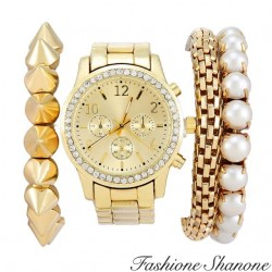 Fashione Shanone - Gold bracelet watch with pearls set