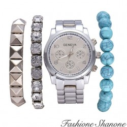 Fashione Shanone - Silver bracelet watch and blue pearls set