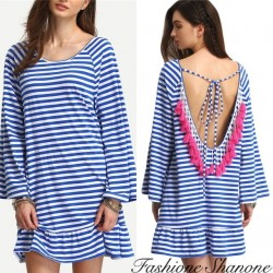 Fashione Shanone - Striped dress with open back