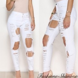 Fashione Shanone - Ripped white skinny jeans