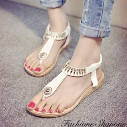 Fashione Shanone - Golden ornamented string sandals