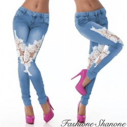 Fashione Shanone - Jeans with white lace