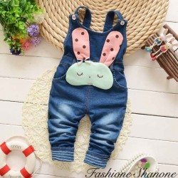 Fashione Shanone - Denim dungarees with rabbit head