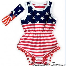 Fashione Shanone - USA shorts jumpsuit with headband