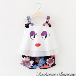 Fashione Shanone - Ensemble top visage et short fleuri