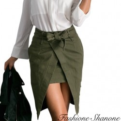 Fashione Shanone - Khaki split pencil skirt