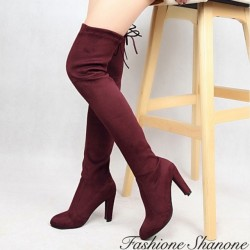 Fashione Shanone - Suede thigh high boots