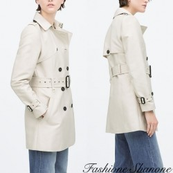 Fashione Shanone - Beige double-breasted trench