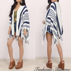 Fashione Shanone - Striped fringed poncho