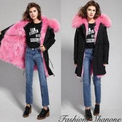 Fashione Shanone - Black parka with pink fur hoodie