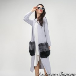 Fashione Shanone - Long cardigan with fur pockets