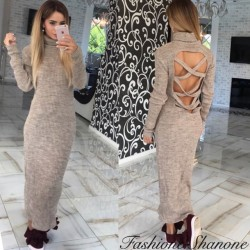 Fashione Shanone - Long sweater dress with open back