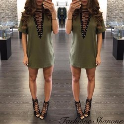 Fashione Shanone - Lace-up t-shirt dress