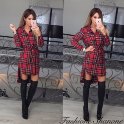 Fashione Shanone - Plaid shirt dress