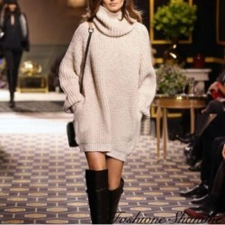 Turtleneck beige sweater dress