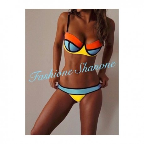 Bikini push-up orange bleu et jaune
