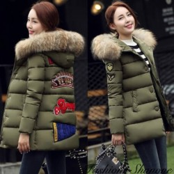Patch coat with fur hood