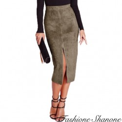 Fashione Shanone - Split mid-length khaki skirt