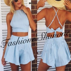 Ensemble crop top et short bleu