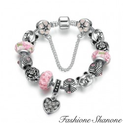 Fashione Shanone - Pink and silver charm Bracelet