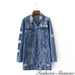Fashione Shanone - Destroy denim long jacket